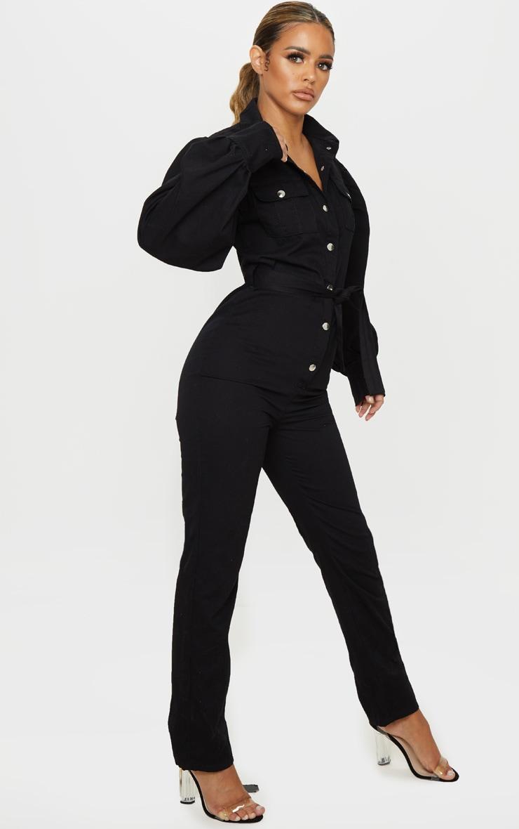 Petite Black Balloon Sleeve Denim Jumpsuit 4