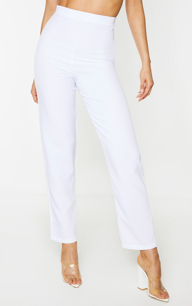 Tall White Cropped Suit Pants 2
