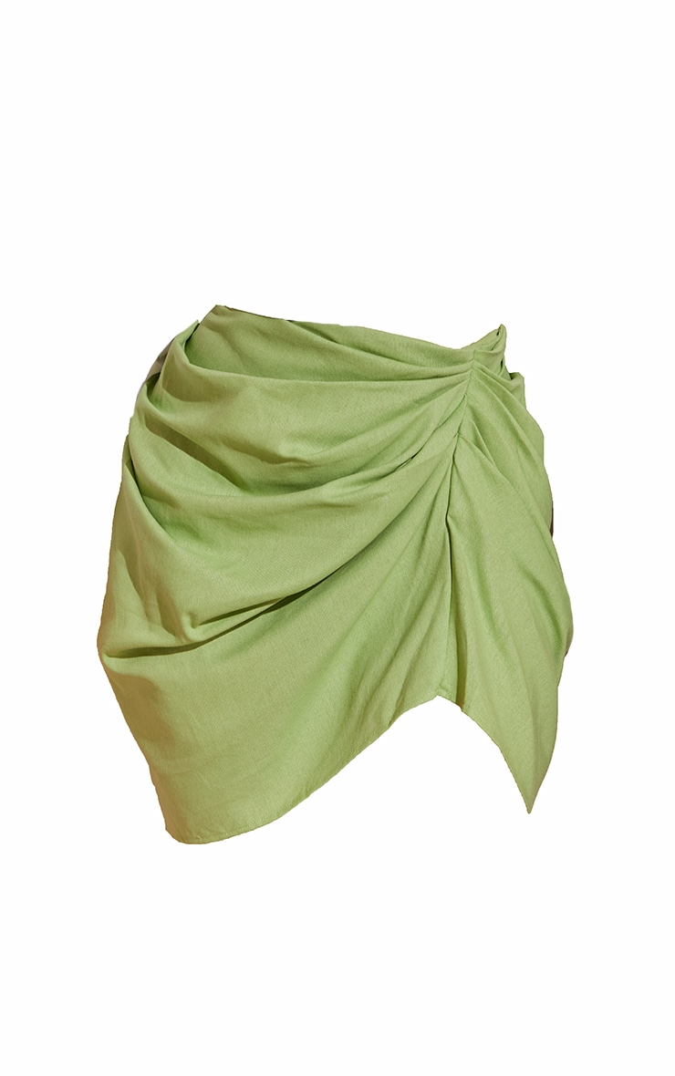 Plus Sage Green Gathered Mini Skirt  6