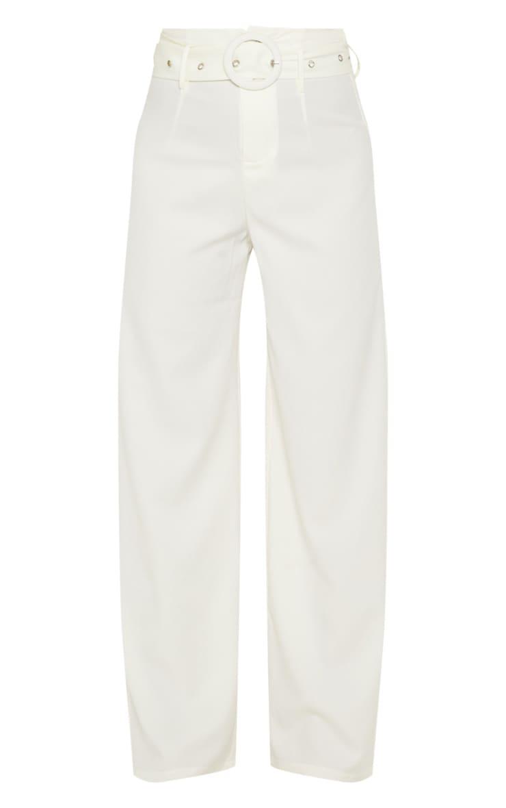 Petite Cream High Waist Ring Belt Wide Leg Trouser 3