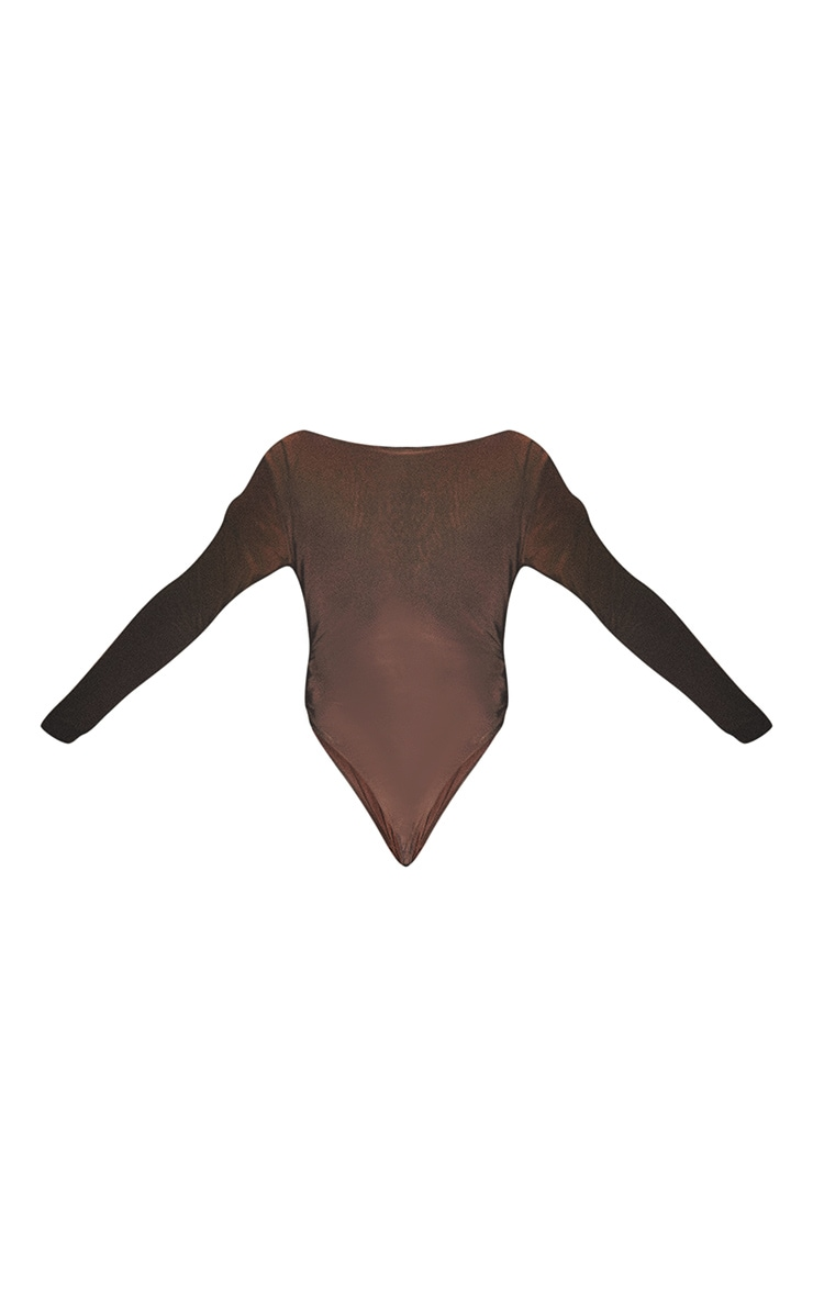 Plus Second Skin Espresso Scoop Neck Long Sleeve Bodysuit 6