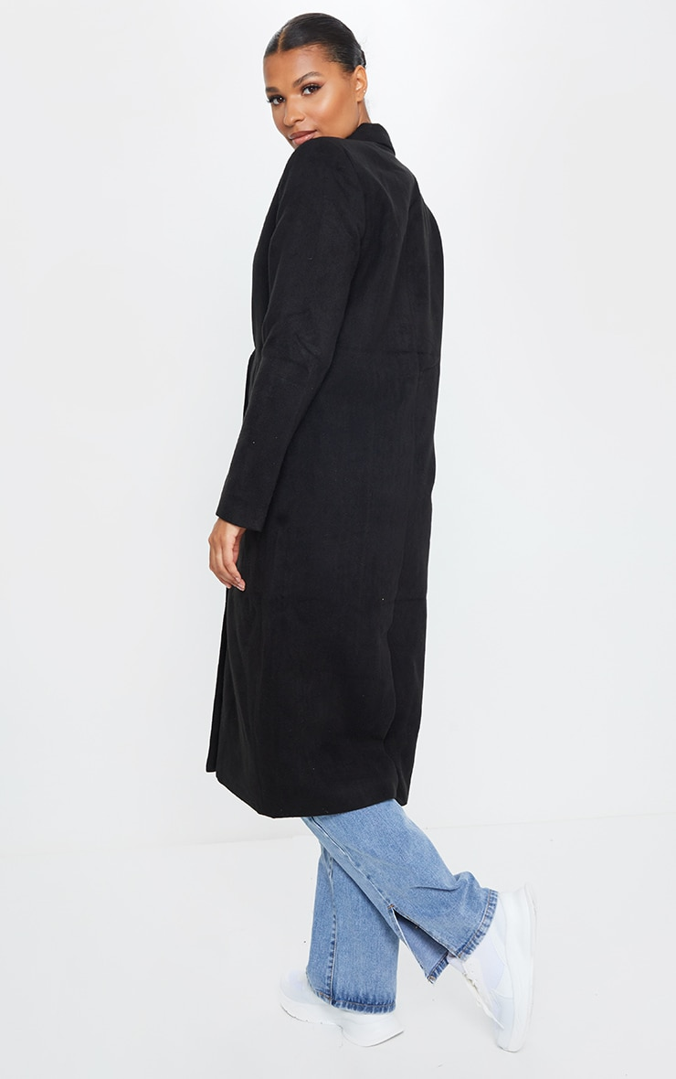 Salana Black Longline Double Breasted Coat 2