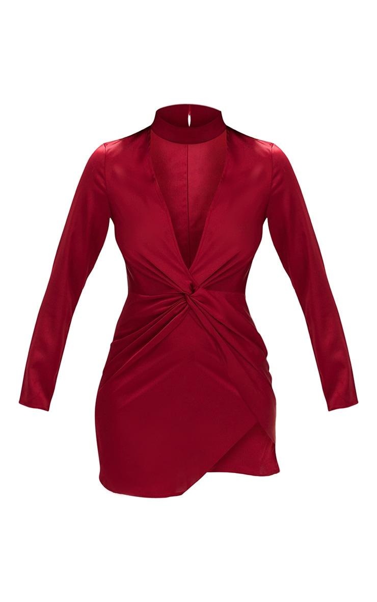 Burgundy Satin Choker Detail Wrap Bodycon Dress 3
