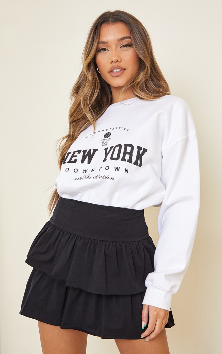 Black Tiered Jersey Skater Skirt 4