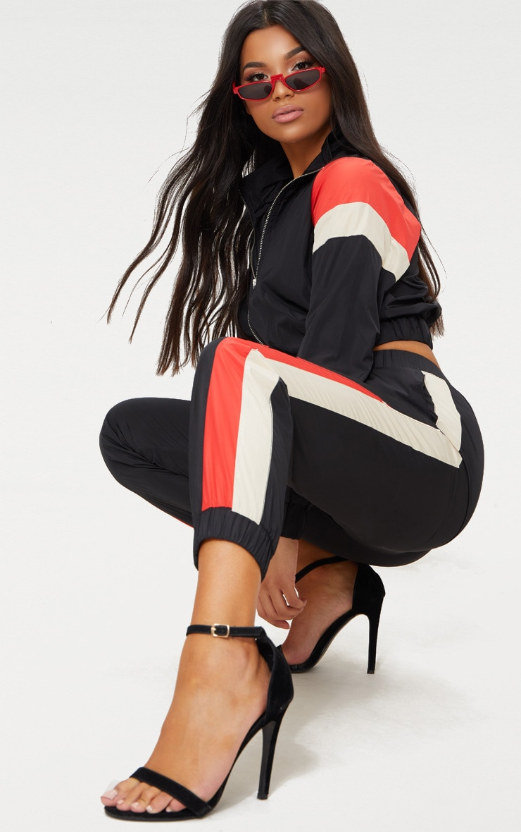 Black Stripe Shell Suit Tracksuit Top 4
