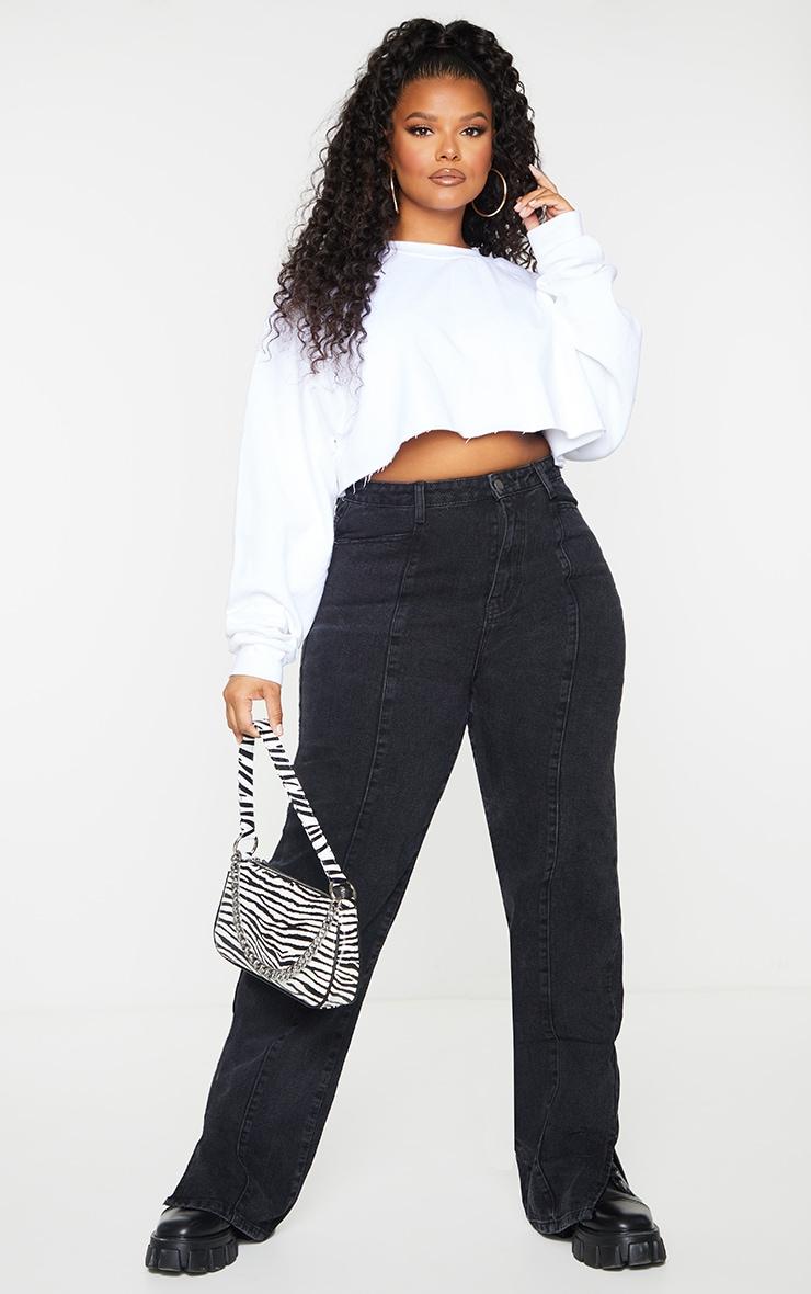 Plus Black Seam Detail Straight Long Leg Jeans 1