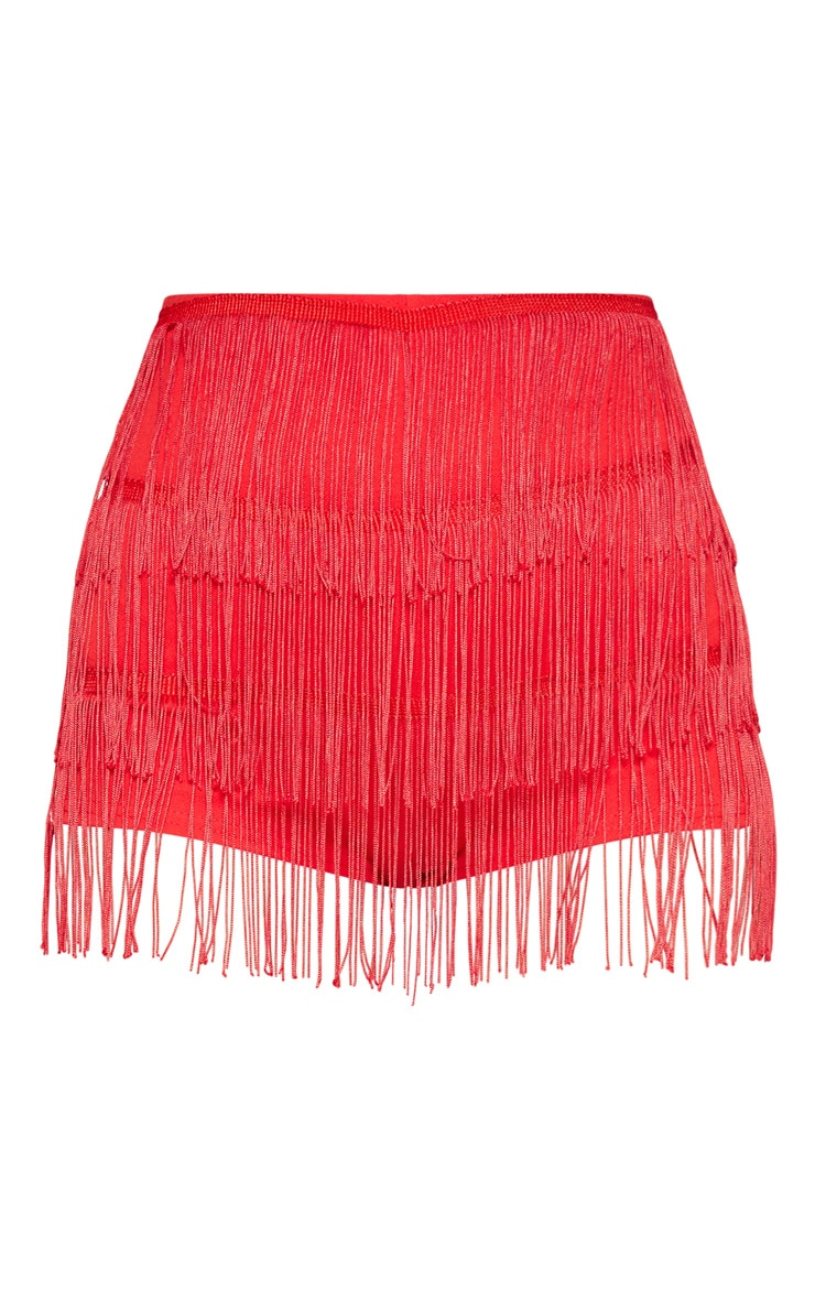 Red Tiered Fringe Shorts 3