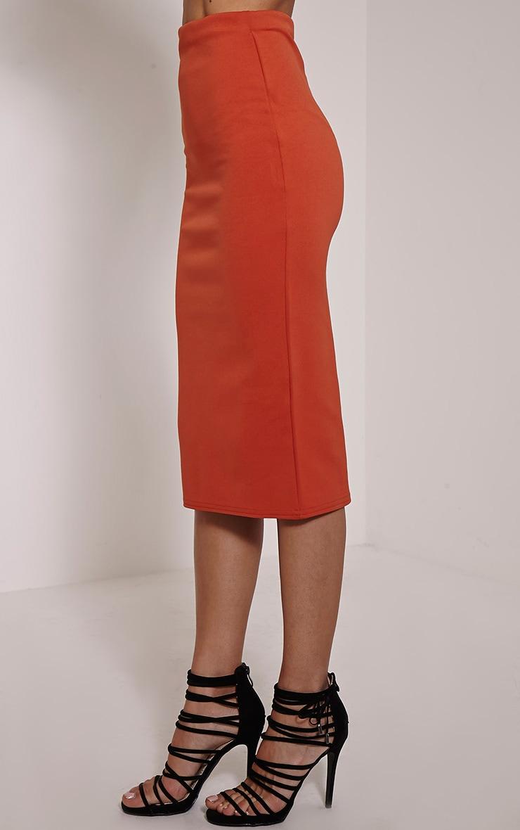Rhian Rust Scuba Midi Skirt 4