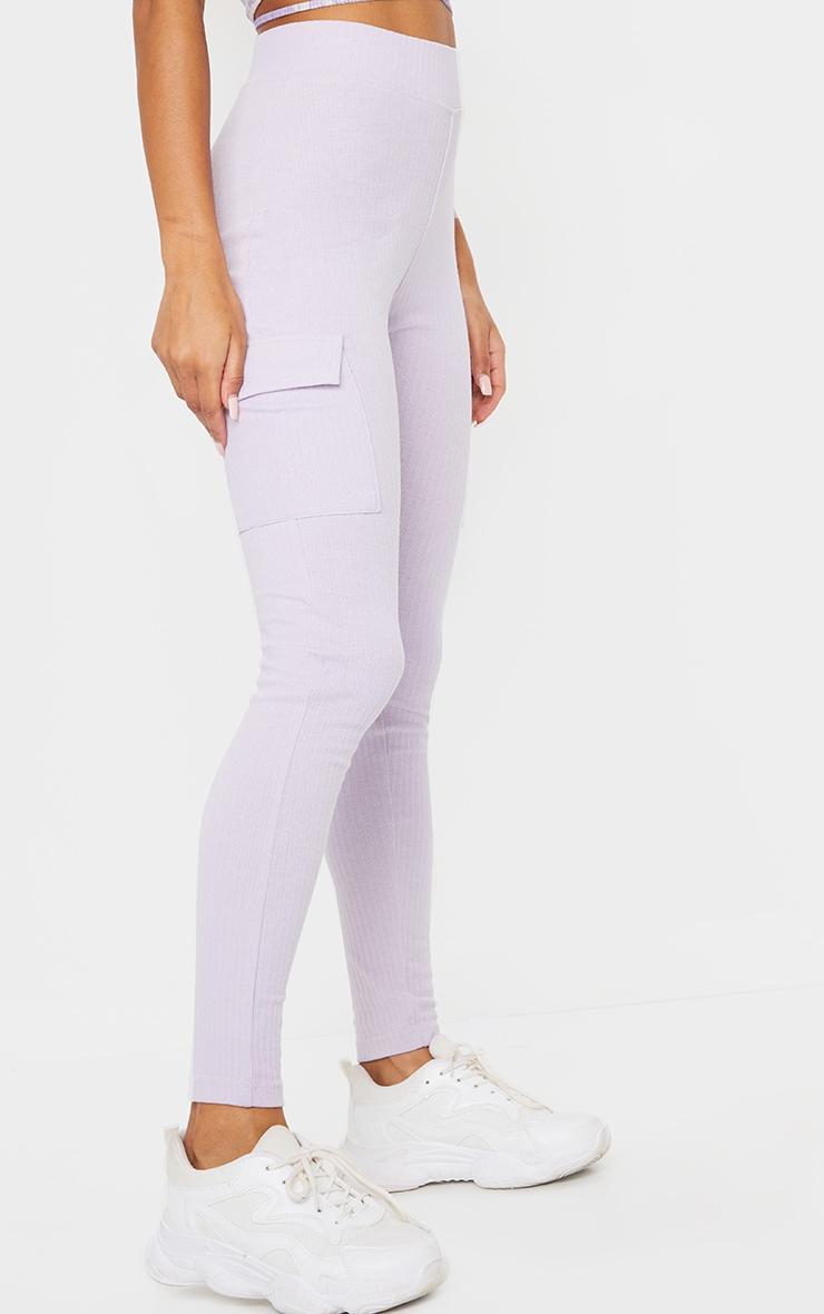 Lilac Pocket Detail Heavy Ribbed Leggings 2