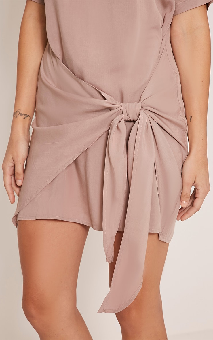 Chessca Nude Tie Front Shirt Dress 6
