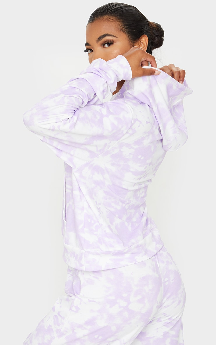 Purple Tie Dye Lightweight Pocket Front Oversized Hoodie 2