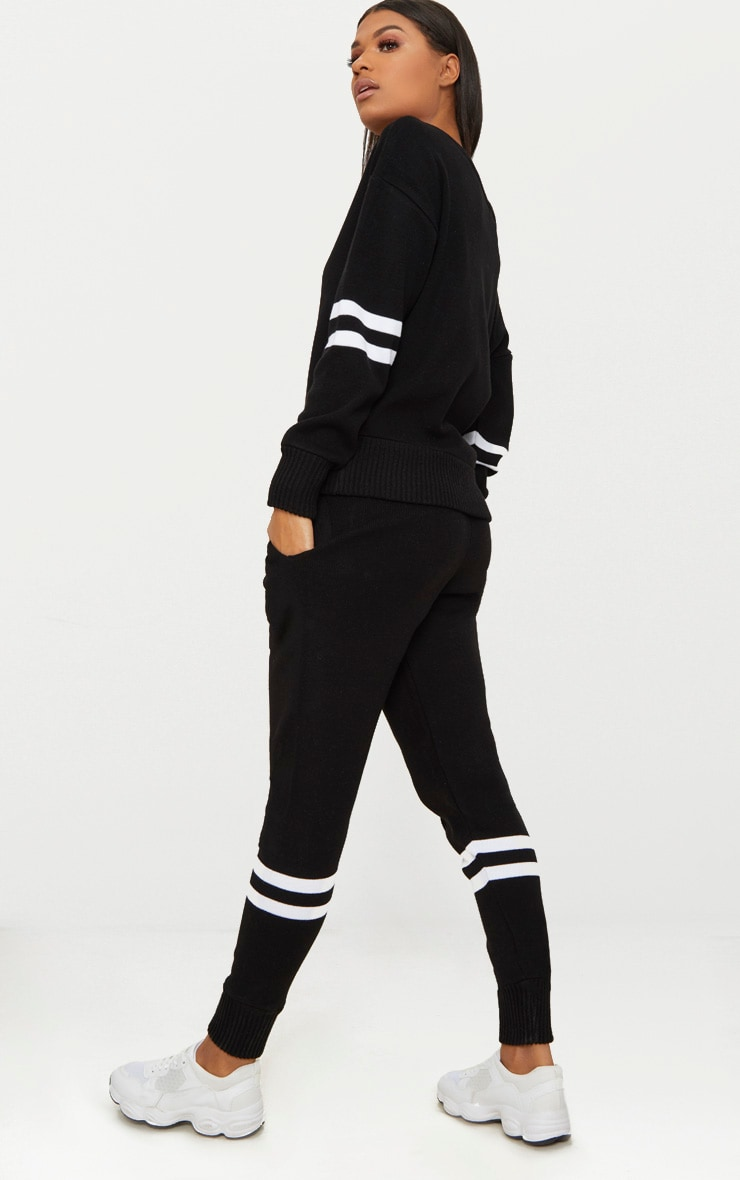 Black Stripe Detail Jogger Knitted Lounge Set 2