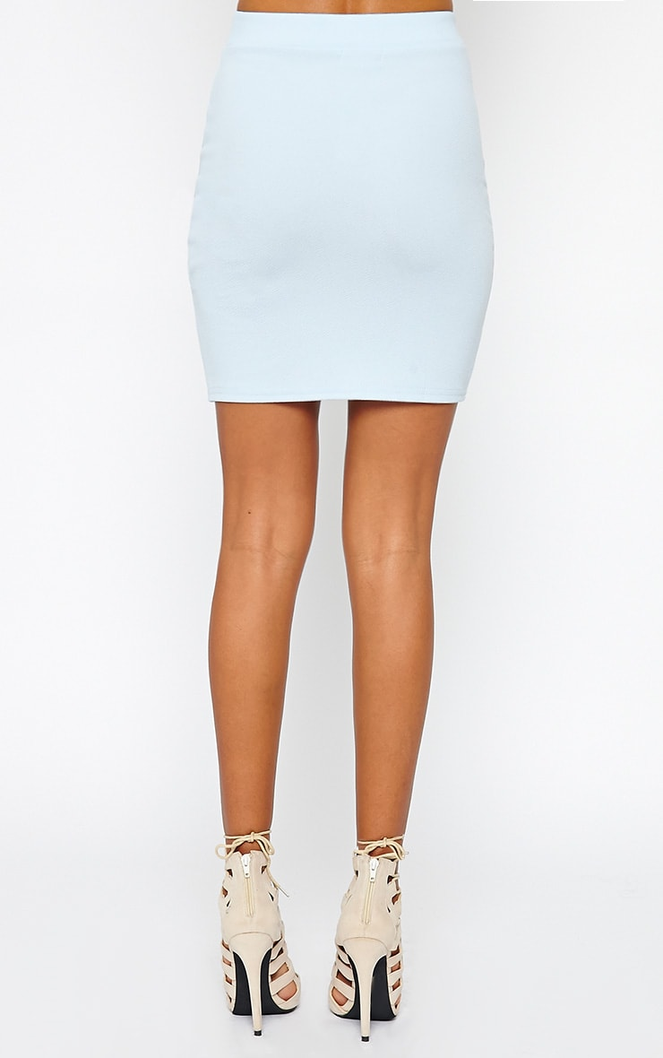 Gabriella Powder Blue Asymmetric Mini Skirt 4