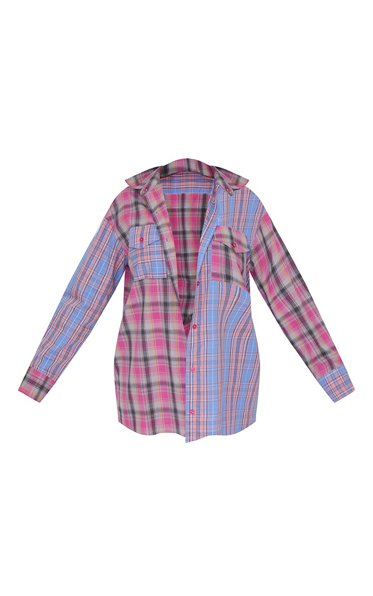 Multi Pastel Check Oversized Spliced Shirt 5