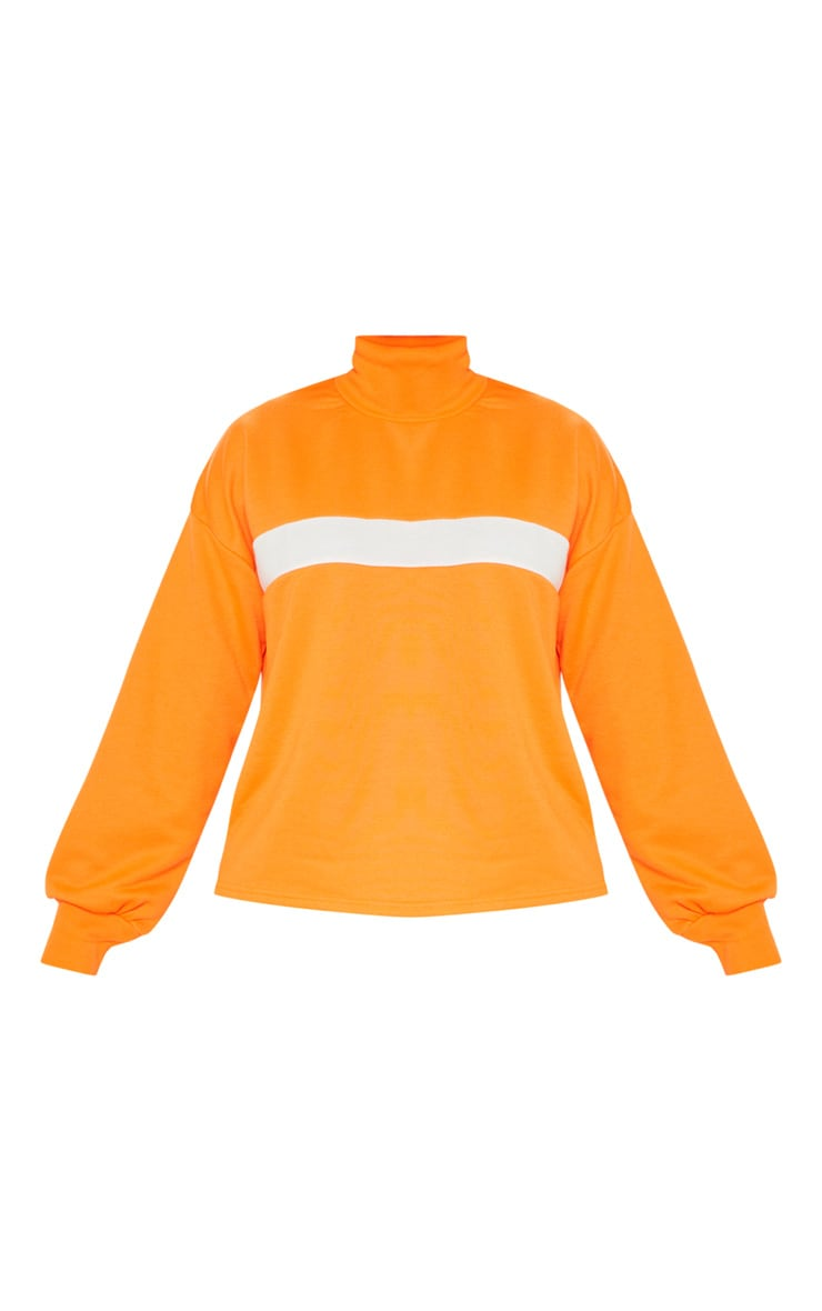 Neon Orange Roll Neck Contrast Stripe Sweat 3