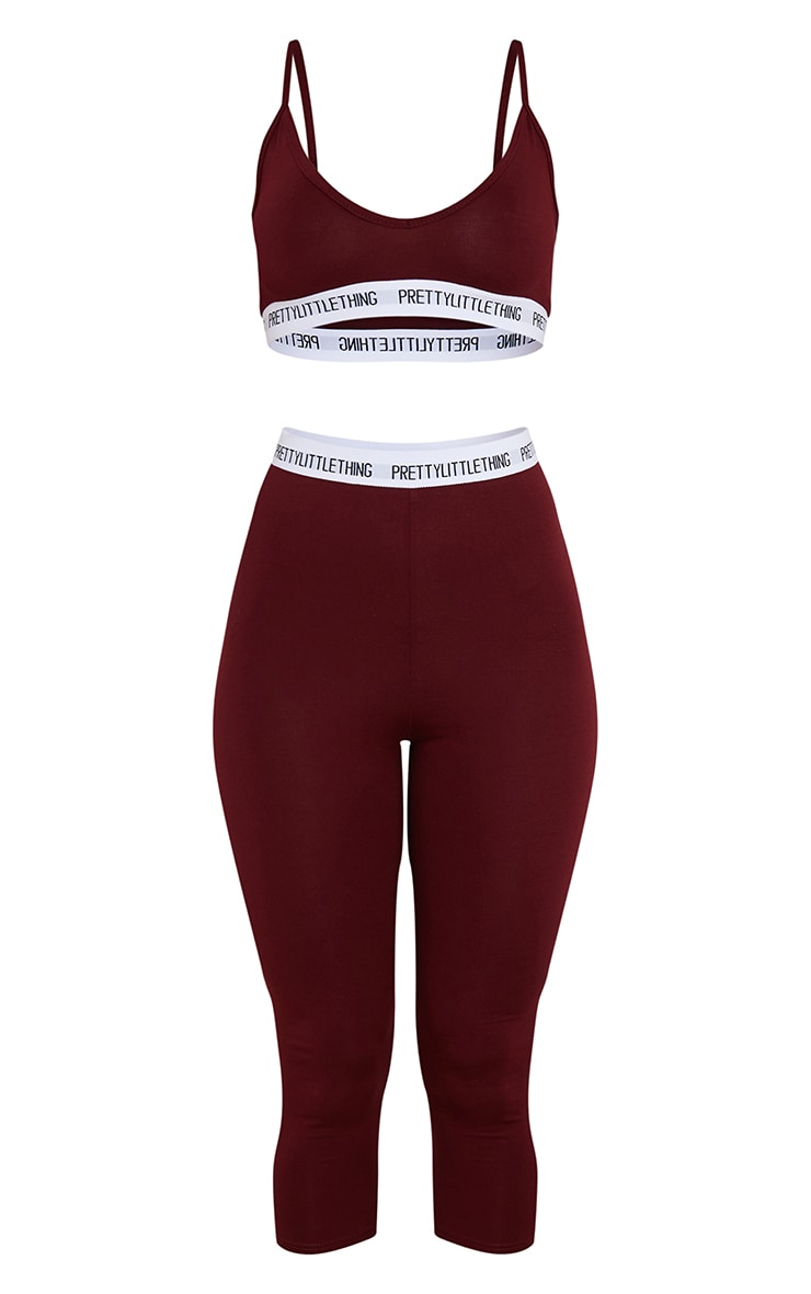 PRETTYLITTLETHING Wine Bralet And Crop Legging Set 5
