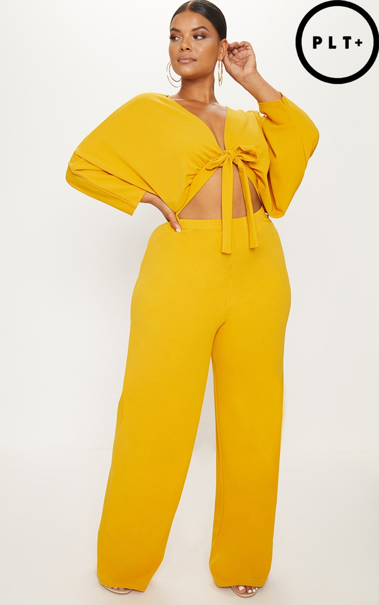 Plus Mustard Crepe Batwing Cut Out Jumpsuit 1