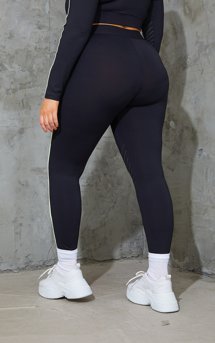 Plus Black With Lime Piping Detail Sports Leggings 3