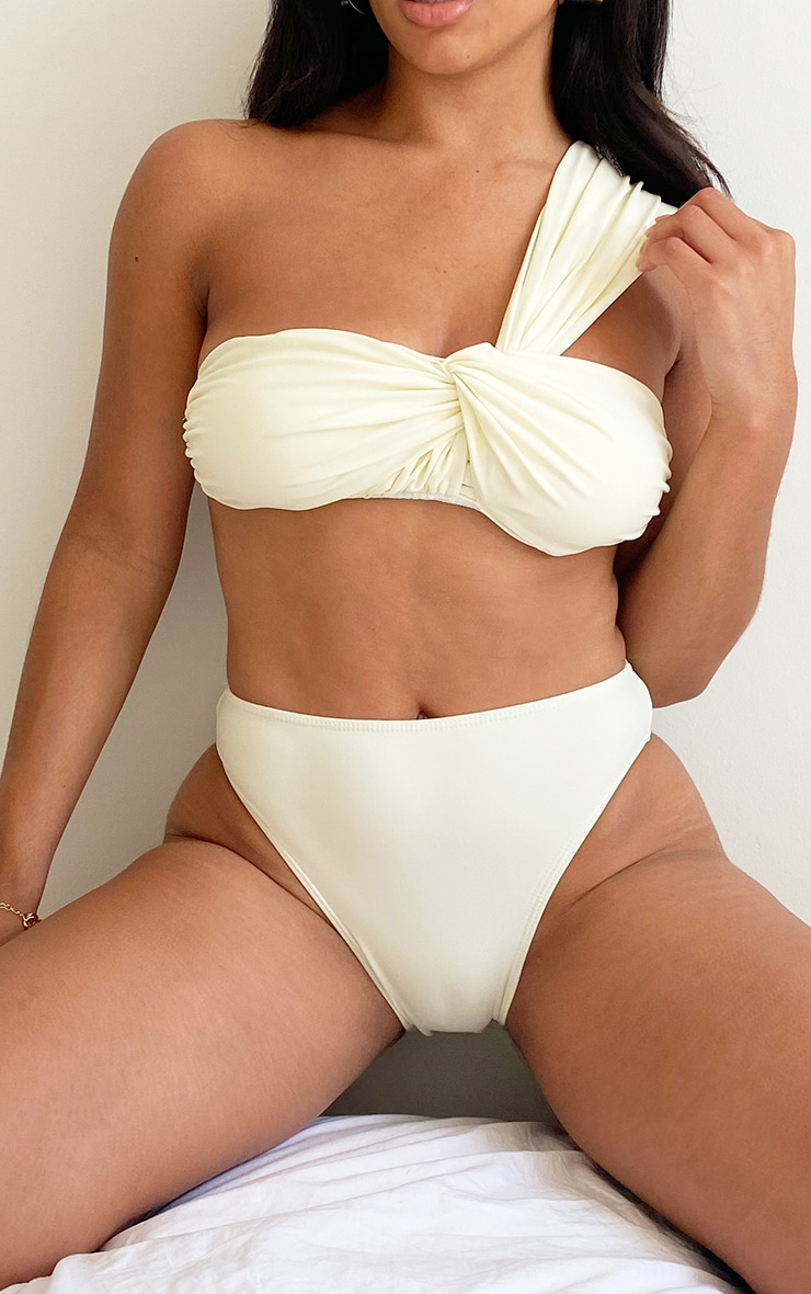 Cream High Waist Bikini Bottom 1