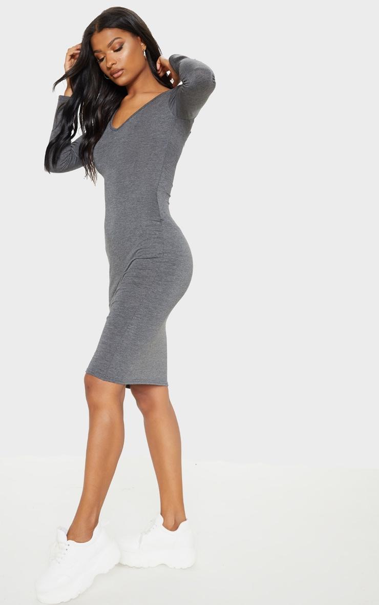 Charcoal Grey Jersey V Neck Long Sleeve Midi Dress 1