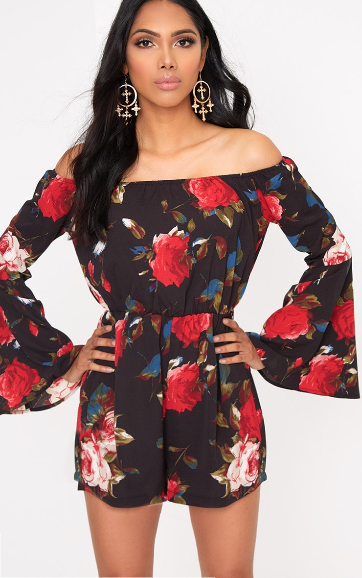 Black Flower Print Bardot Playsuit  1