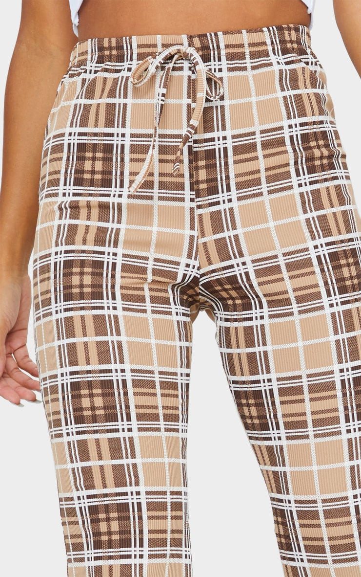 Taupe Check Ribbed Flared Pants 4