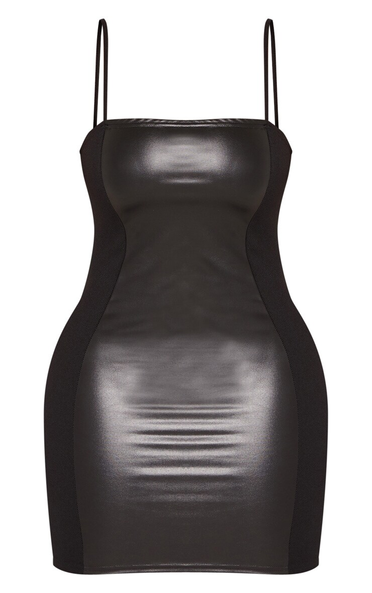 Shape Black PU Panel Bodycon Dress 4