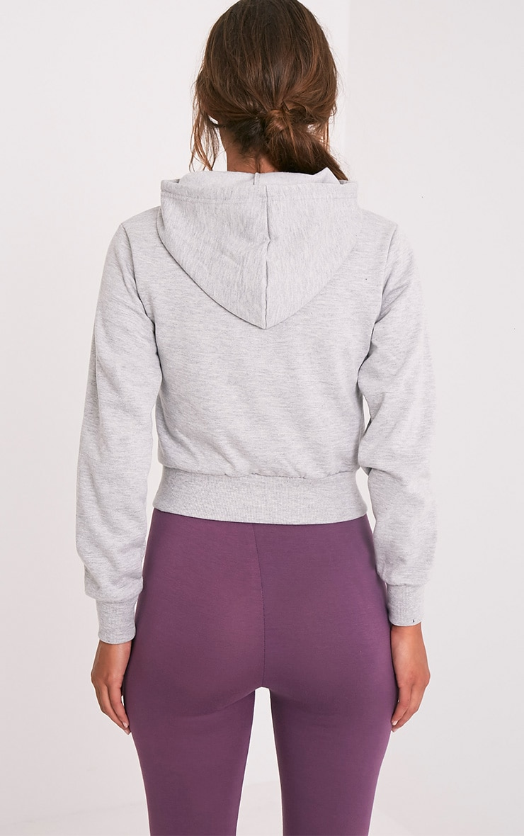 Mila Grey Pull On Cropped Hoody 2