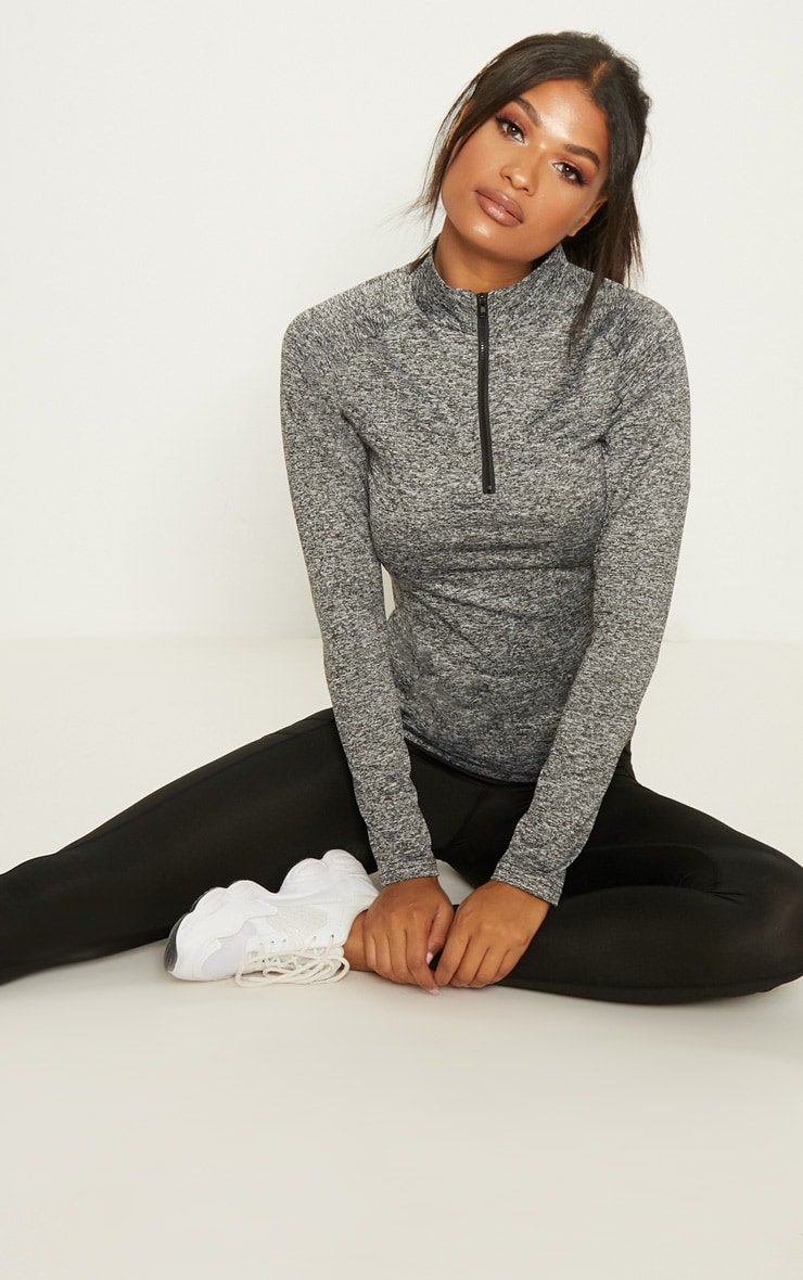 Black Speckle Long Sleeve Zip Up Sports Top 2