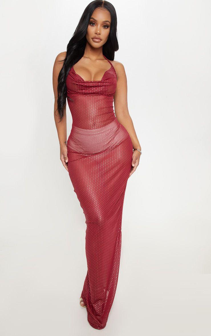 Shape Burgundy Mesh Polka Dot Maxi Dress 1