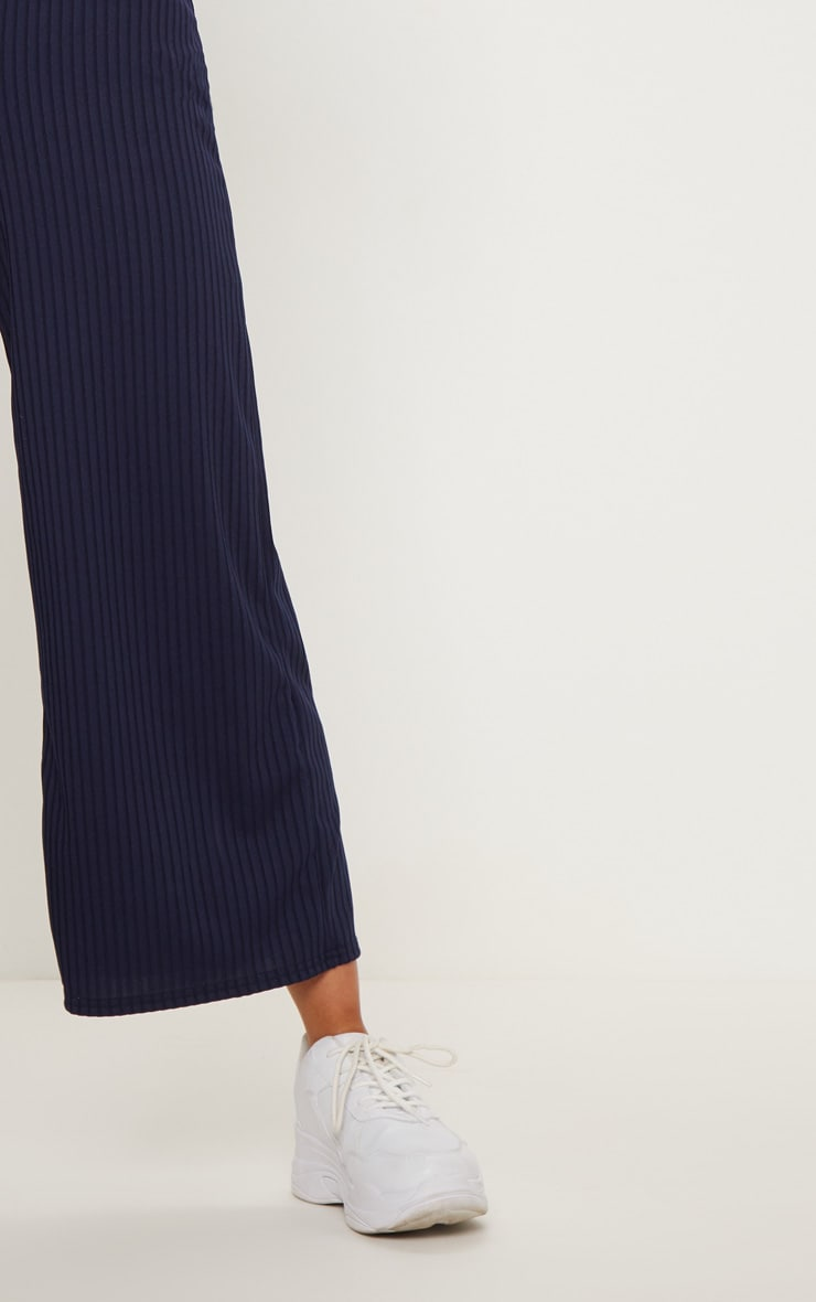 Navy Ribbed V Neck Oversized Jumpsuit 5