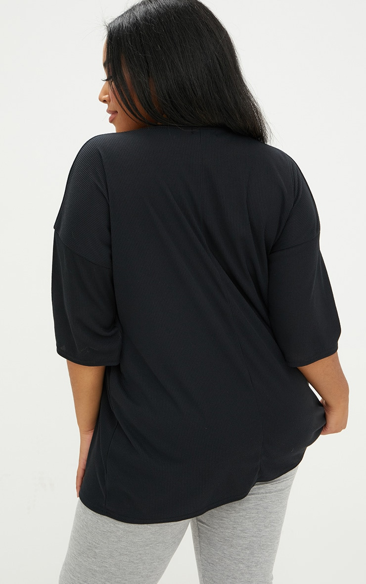 Plus Black Ribbed Oversized Tee 2