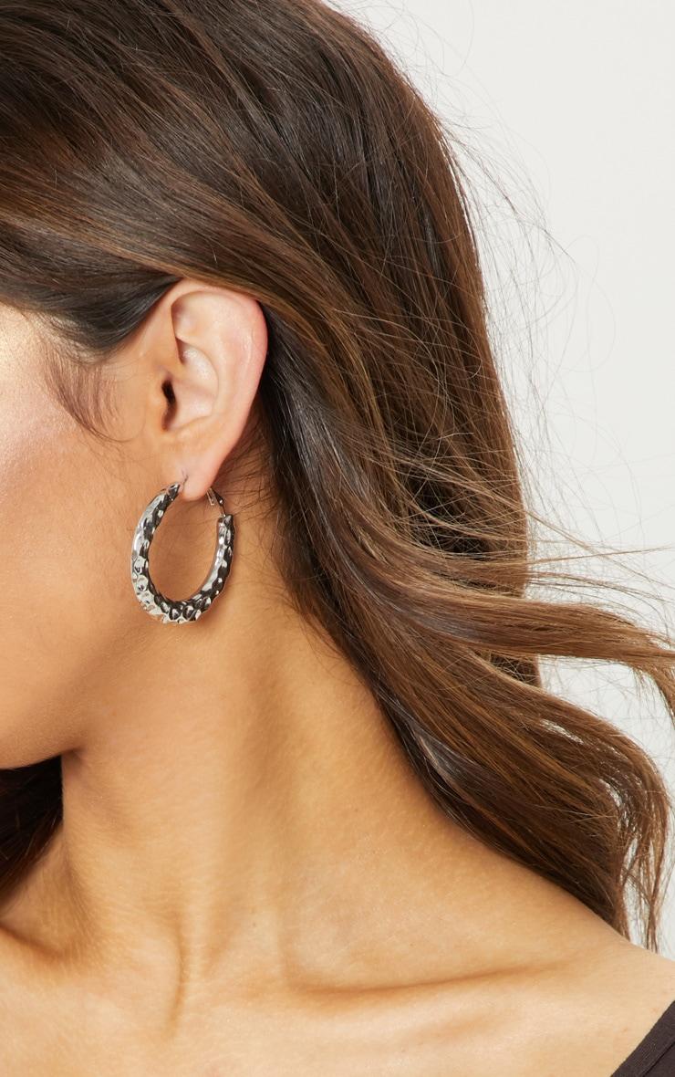 Silver Hammered Textured Hoop Earrings