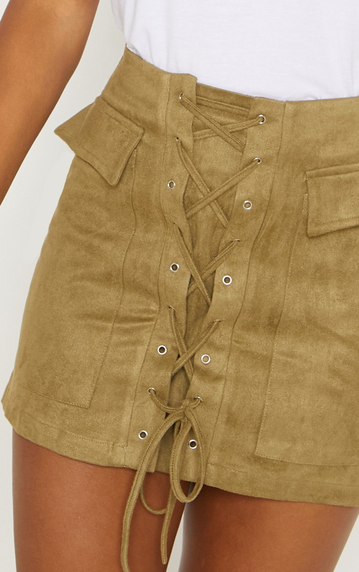 Khaki Faux Suede Lace Up Mini Skirt 6