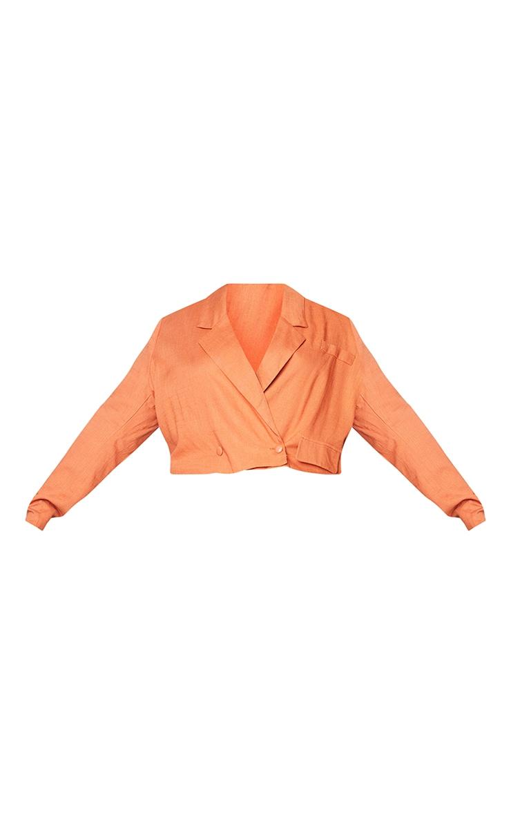 PLT Plus - Blazer court orange brûlé à double boutonnière 5