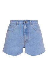 PRETTYLITTLETHING Light Blue Wash Raw Hem Hot Pants 6