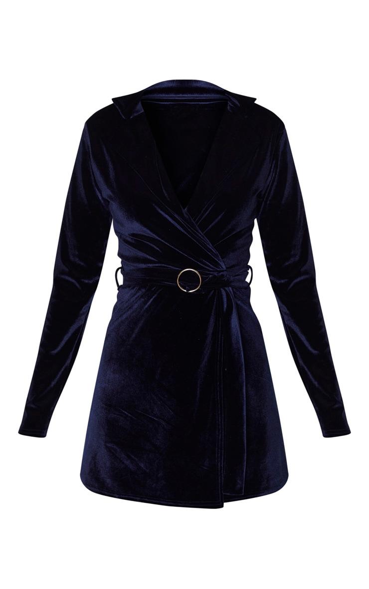 Navy Velvet Ring Belt Blazer Style Bodycon Dress 3