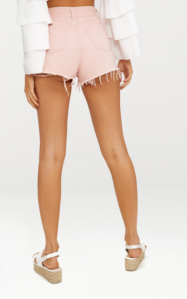 Pink Ripped Denim Hot Pants 3