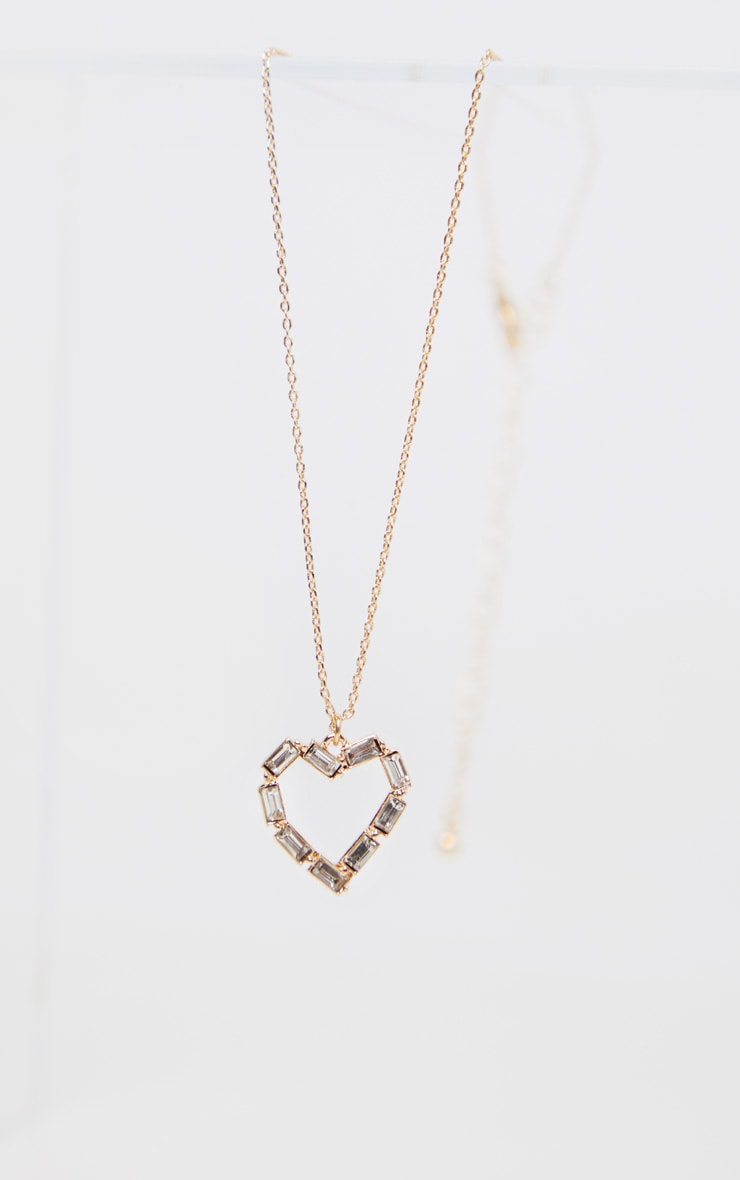 Gold Delicate Heart Diamante Pendant Necklace 3