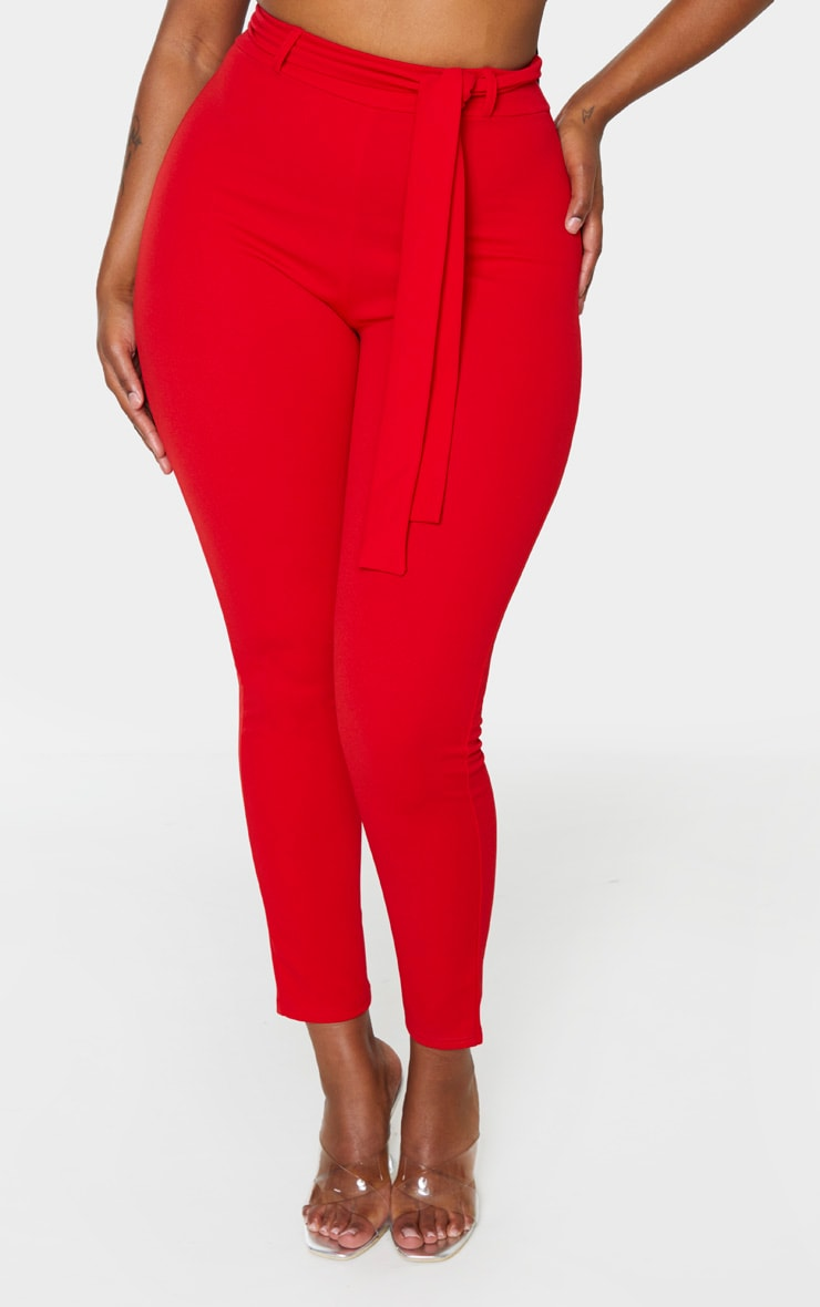 Shape Red Belted Tapered Pants 2