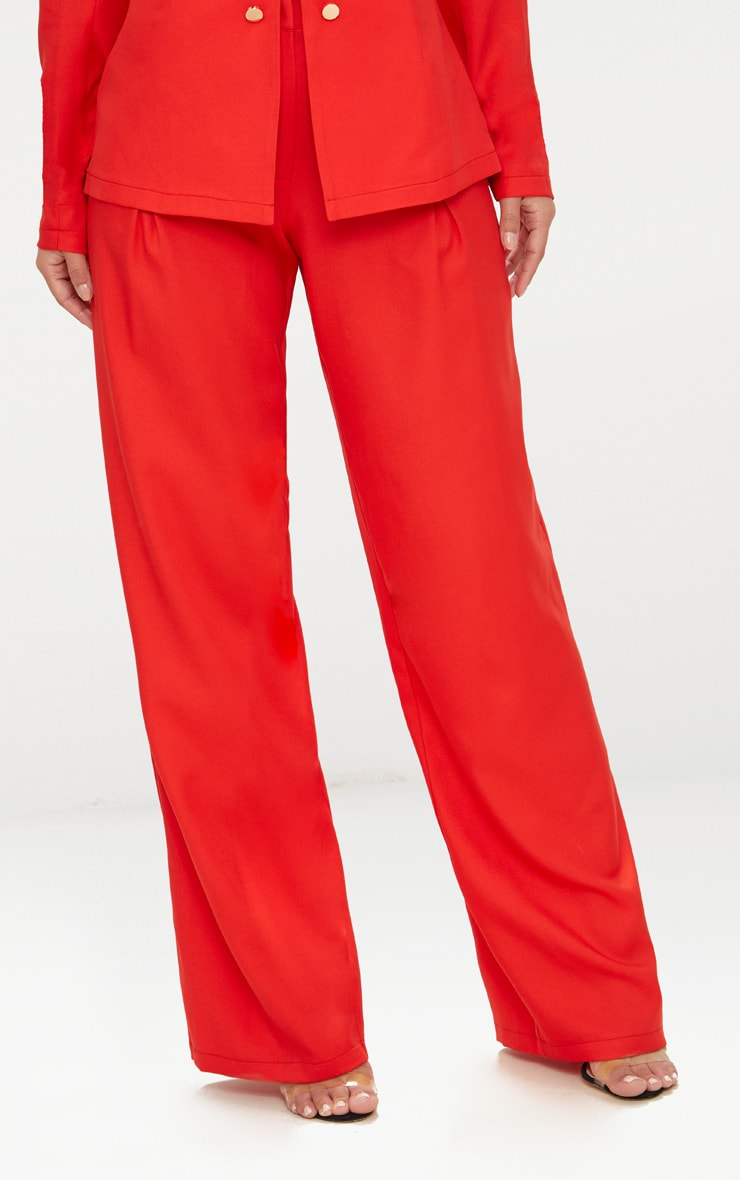 Petite Red Oversized Wide Leg Trousers 2