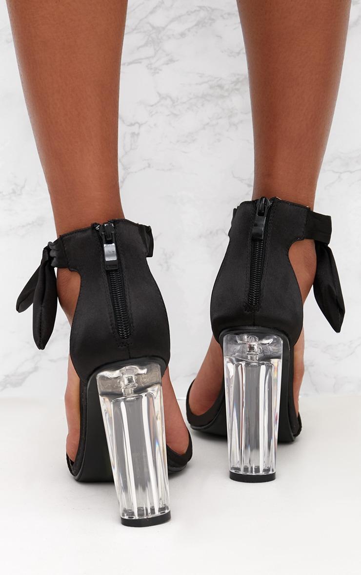 Black Satin Bow Clear Heel Sandal 4