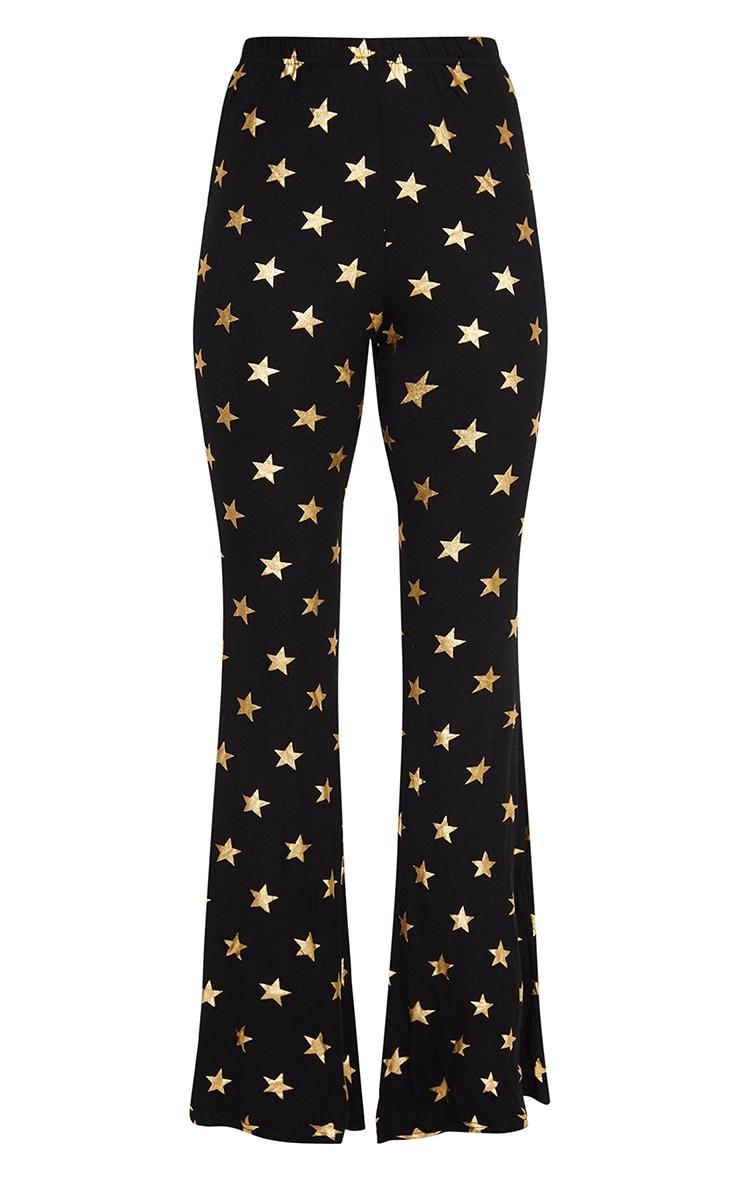 Black Jersey Star Print Flared Trouser 3