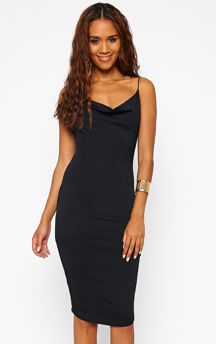 Saki Black Cowl Neck Dress 1