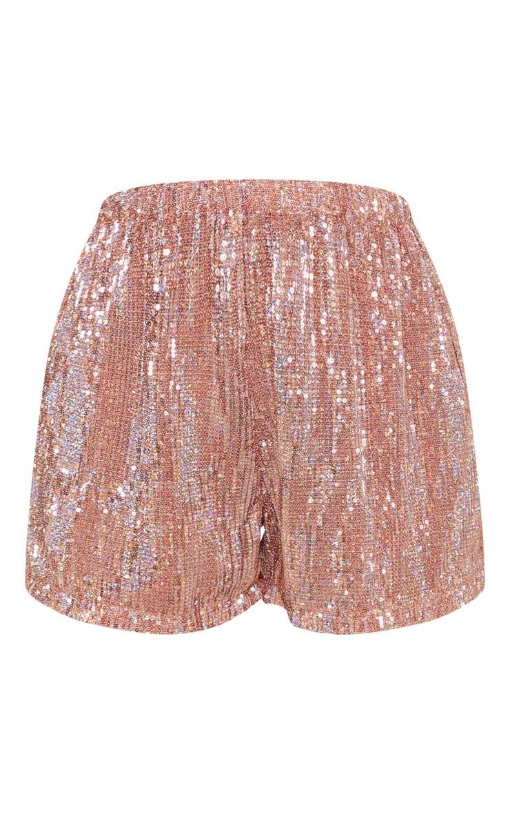Rose Gold Sequin Shorts 3