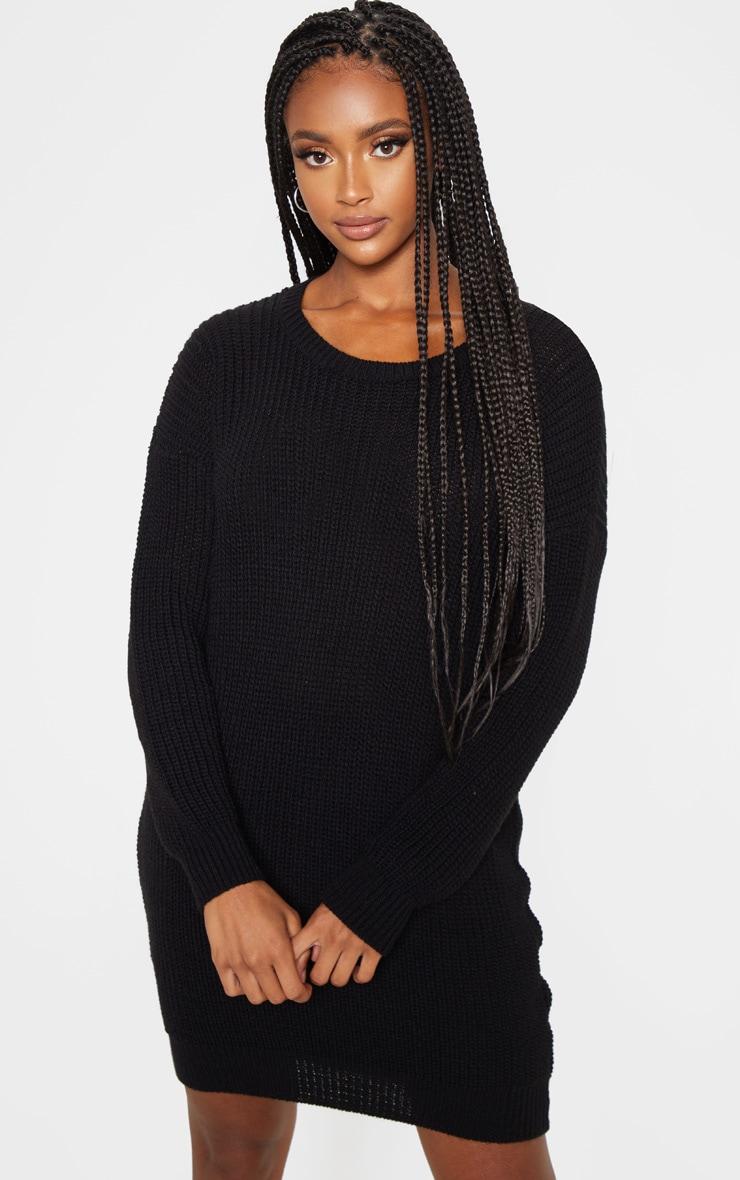 Black Basic Knit Sweater Dress 1