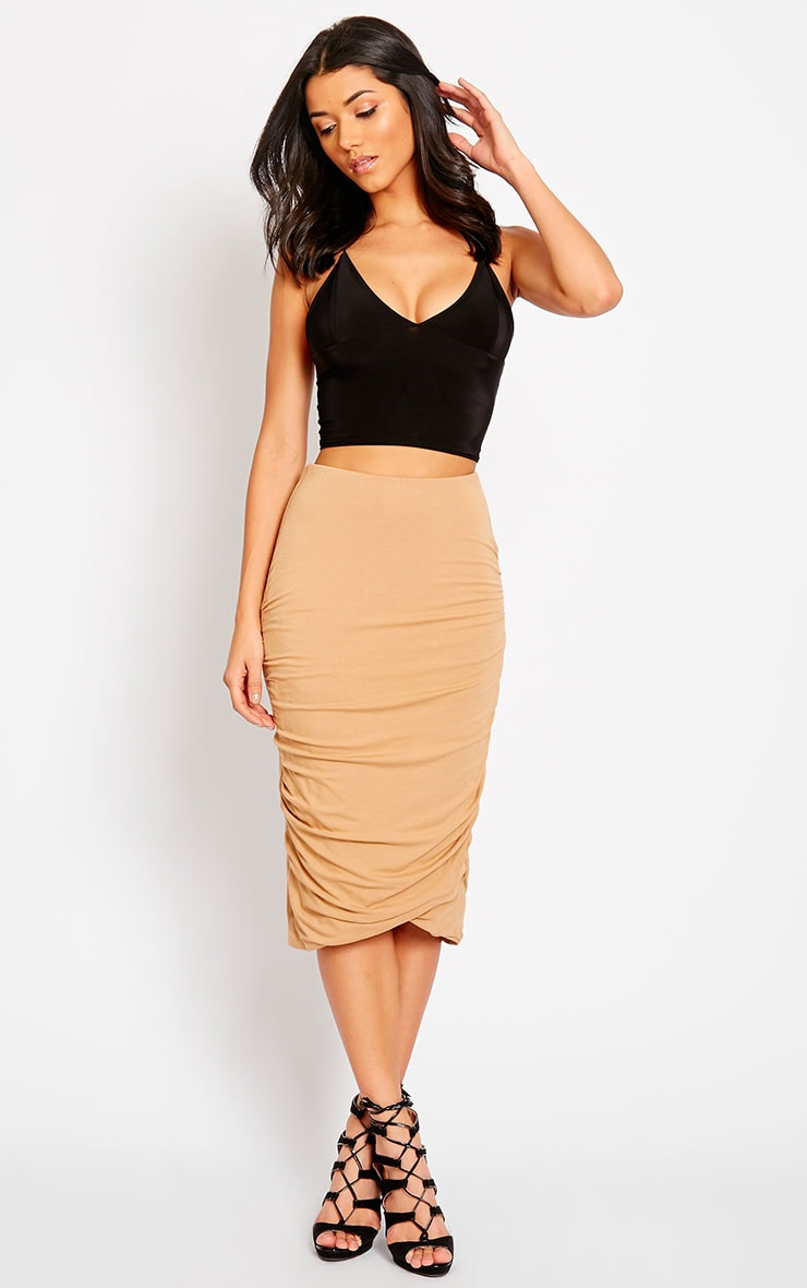 Asia Camel Jersey Ruched Midi Skirt 5