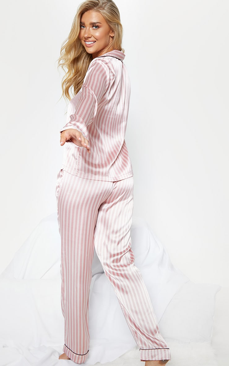 Baby Pink Long Striped Satin Pyjama Set 2