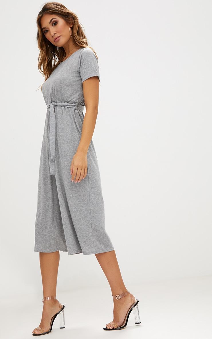 Grey Marl Jersey Short Sleeve Culotte Jumpsuit 4