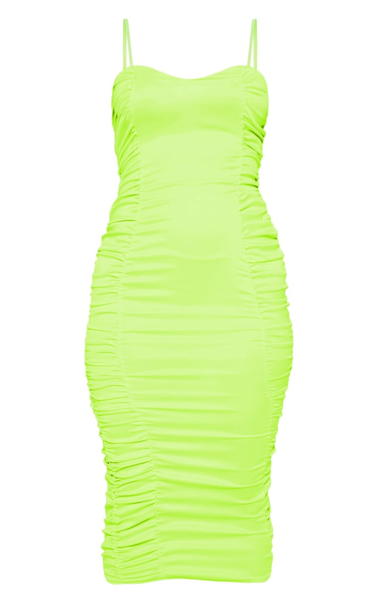 Neon Lime Satin Ruched Midaxi Dress 3